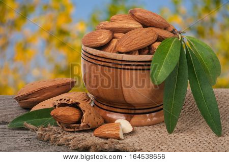 almonds in a bowl on the old wooden board with sackcloth and blurred garden background.
