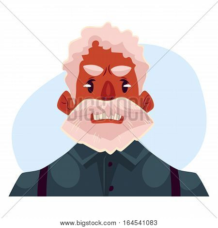 Grey haired old african man face, angry facial expression cartoon vector on blue background. Old black man, grandfather frowns, feeling distresses, frustrated, sullen, upset. Angry face expression