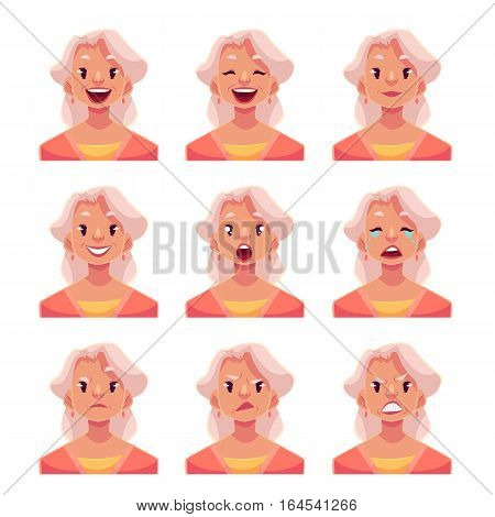 Grey haired old lady face expression, set of cartoon vector illustrations isolated on white background. Old woman, grandmother emoji face icons, set of female avatars with different emotions