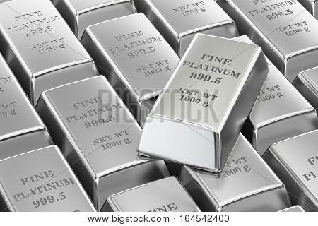 set of platinum bars background 3D rendering