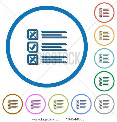 Questionnaire flat color vector icons with shadows in round outlines on white background