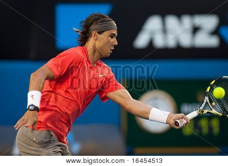 MELBOURNE - JANUARY 26: Rafael Nadal of Spain in his quarter final loss to David Ferrer of Spain  in the 2011 Australian Open on January 26, 2011 in Melbourne, Australia
