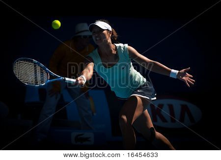 MELBOURNE - JANUARY 27: Li Na of China  in her semi final win over Caroline  Wozniacki of Denmark in the 2011 Australian Open on January 27, 2011 in Melbourne, Australia