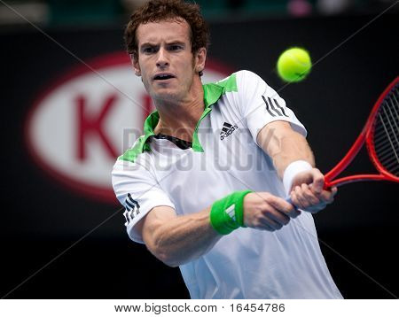 MELBOURNE - JANUARY 26: Andy Murray of Great Britain on his way to the final of the 2011 Australian Open.  January 22, 2011 in Melbourne, Australia.