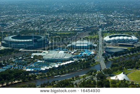 MELBOURNE, AUSTRALIA - JANUARY 30: Melbourne park & surrounding sporting precinct  the home the Australian Open Tennis Tournament on January 30, 2011 in Melbourne, Australia