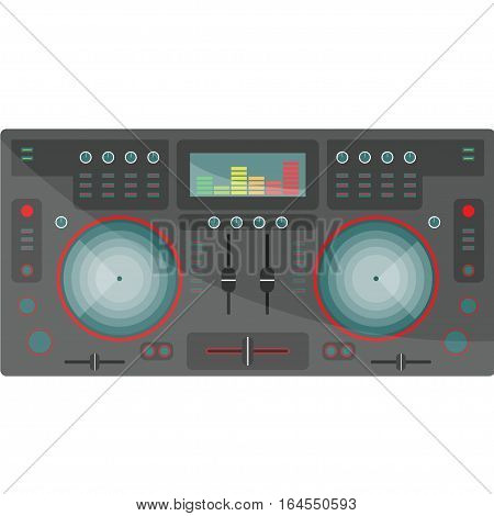 DJ mixer with EQ on a white background. Flat style. Vector illustration.