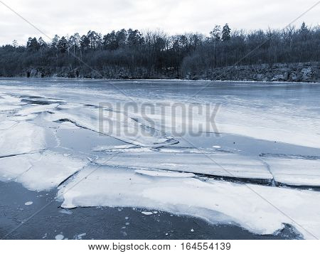 Winter Landscape. Grouse River Covered With Ice In Zhitomir, Ukraine.