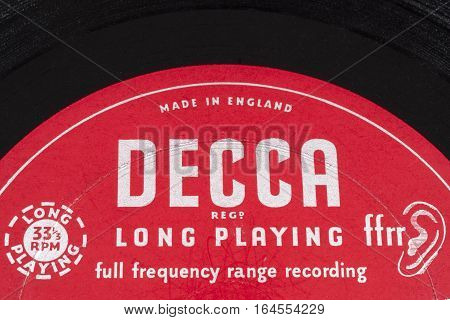 LONDON UK - JANUARY 4TH 2017: A close-up shot of the Decca Records symbol on a vintage vinyl record on 4th January 2017. Decca Records began as a British label in 1929.