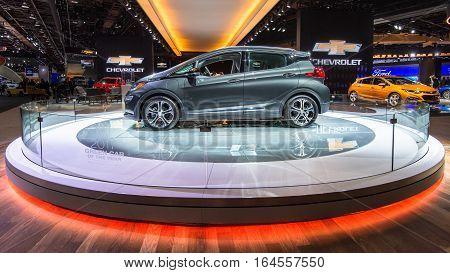 DETROIT MI/USA - JANUARY 9 2017: A 2017 Chevrolet Bolt EV car at the North American International Auto Show (NAIAS).