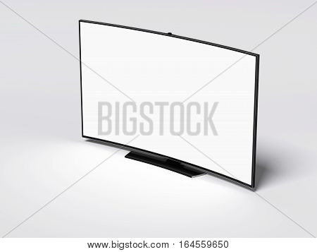 Curved tv screen with blank display on bright floor. 3d rendering
