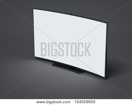Curved tv screen with blank display on dark floor. 3d rendering