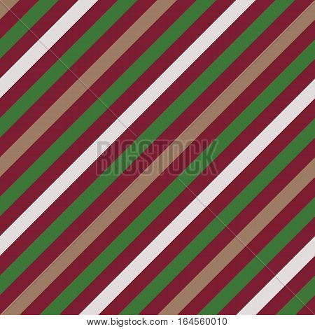 Seamless geometric pattern. Stripy texture for neck tie. Diagonal contrast strips on background. Green, vinous, beige colors. Vector