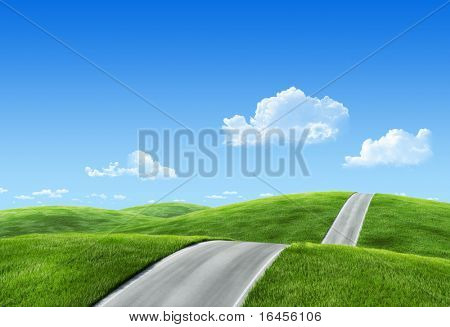 25 megapixel nature collection - Road across the meadow with roadsign