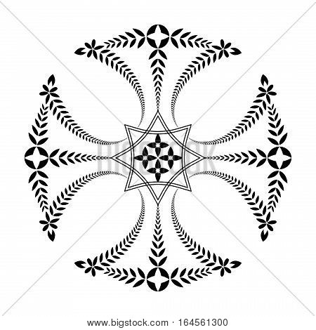 Laurel wreath tattoo. Black ornament. Cross sign on white background. Defense, peace, glory symbol. Vector isolated