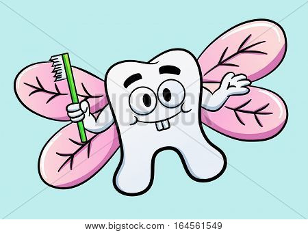 Cartoon illustration of a funny tooth as a fairy with wings and holding a toothbrush