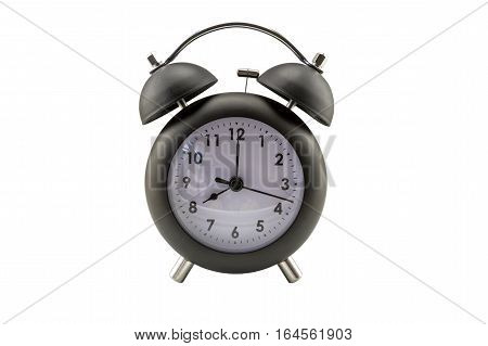 Close up of a classic bell clock on white background. Saved with clipping path.