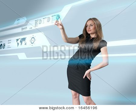 Lady touching hi-tech - Interfaces collection