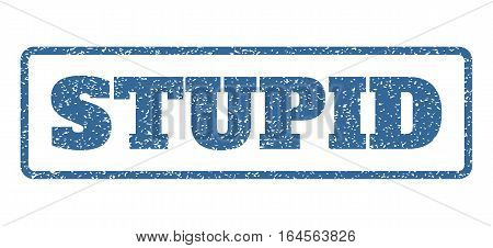 Cobalt Blue rubber seal stamp with Stupid text. Vector caption inside rounded rectangular frame. Grunge design and dust texture for watermark labels. Horisontal sign on a white background.
