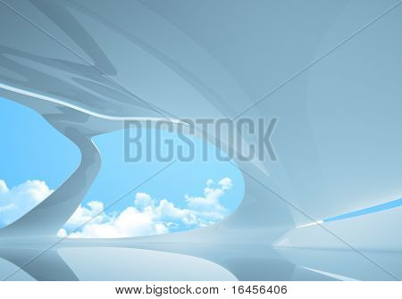 Conceptual future style interior. Plenty empty space to place your logo / text / product / people. One of a series.