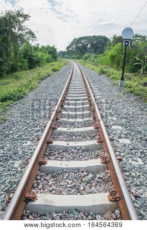 The railroad tracks for the train, transport concept.