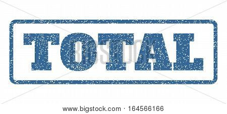 Cobalt Blue rubber seal stamp with Total text. Vector caption inside rounded rectangular shape. Grunge design and dirty texture for watermark labels. Horisontal sign on a white background.