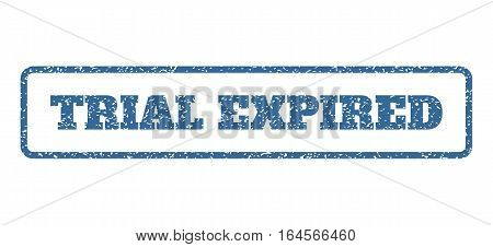 Cobalt Blue rubber seal stamp with Trial Expired text. Vector caption inside rounded rectangular frame. Grunge design and dirty texture for watermark labels. Horisontal sticker on a white background.