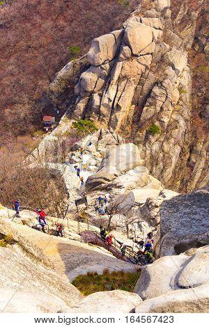Bukhansan Mountain Queue Climbers Hiking Path