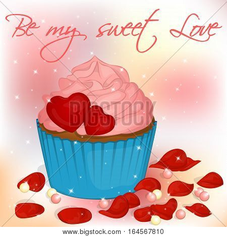 Happy Valentine's Day card with cupcake, pearls and rose petals. Background for valentine's day. Valentine's Day greeting card in cartoon style. Vector illustration. Holiday Collection.