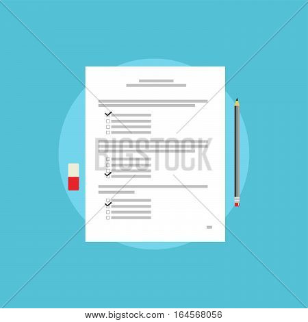 Test paper exam or survey concept illustration. School test. School exam.