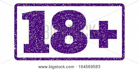 Indigo Blue rubber seal stamp with 18 Plus text. Vector caption inside rounded rectangular shape. Grunge design and dirty texture for watermark labels. Horisontal sticker on a white background.