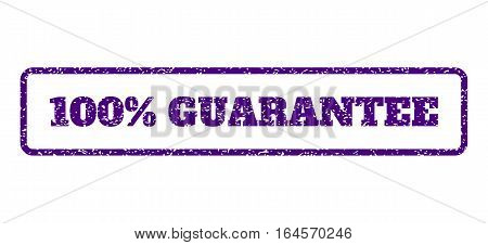 Indigo Blue rubber seal stamp with 100 Percent Guarantee text. Vector tag inside rounded rectangular shape. Grunge design and scratched texture for watermark labels.