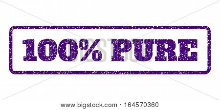 Indigo Blue rubber seal stamp with 100 Percent Pure text. Vector caption inside rounded rectangular frame. Grunge design and dirty texture for watermark labels.