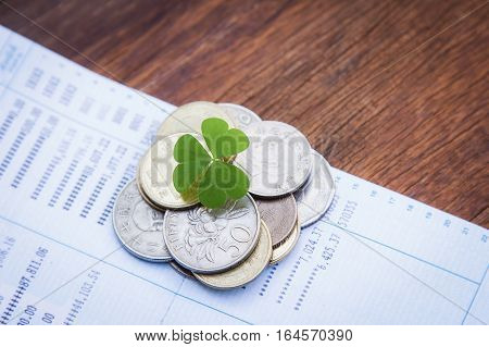 Coins from different countries with young growing clover leaf on saving banknote, save money concept