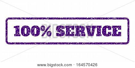 Indigo Blue rubber seal stamp with 100 Percent Service text. Vector caption inside rounded rectangular shape. Grunge design and unclean texture for watermark labels.