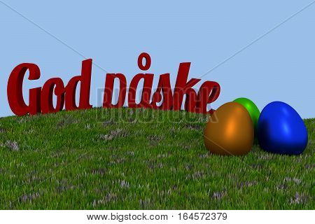 God paske Danish Happy Easter. Green grass with three colored eggs, 3d rendering