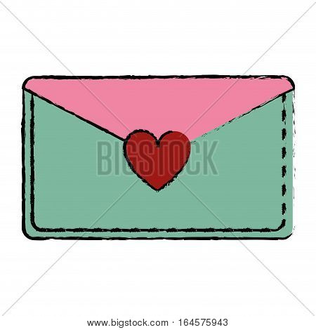 drawing pink and green email envelope message love vector illustration eps 10