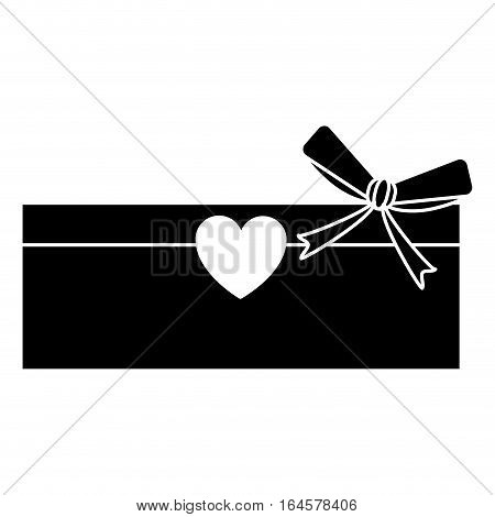 silhouette love cardboard box bow romance present vector illustration eps 10