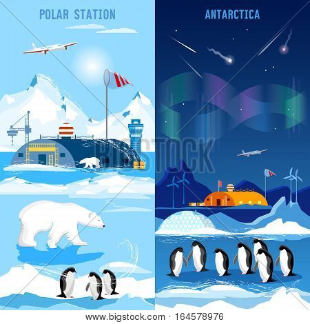 North Pole polar station banners. Penguins polar bears polar lights. Scientific studying of Antarctica and North Pole