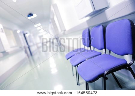 Group of chairs in medical building. waiting concept
