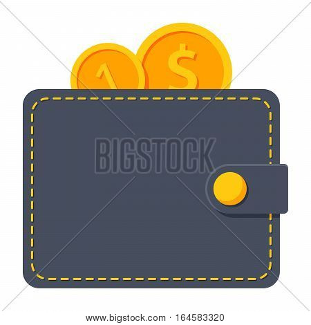 Wallet with gold coins vector illustration in flat style