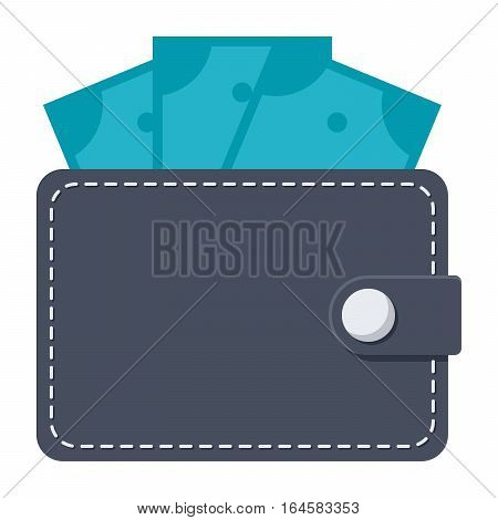 Wallet with money vector illustration in flat style