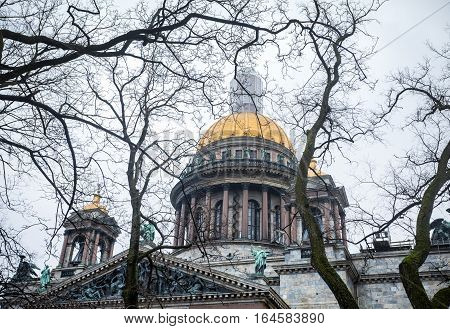 Famous Isaac's Cathedral In St. Petersburg