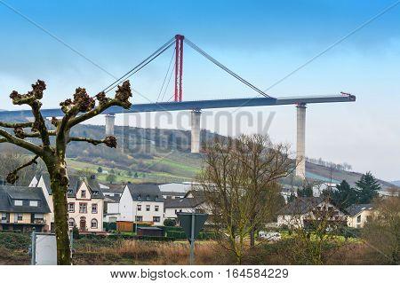 Bridge construction site High Moselle Bridge under construction between Ürzig and Zeltingen - Rachtig seen from below.