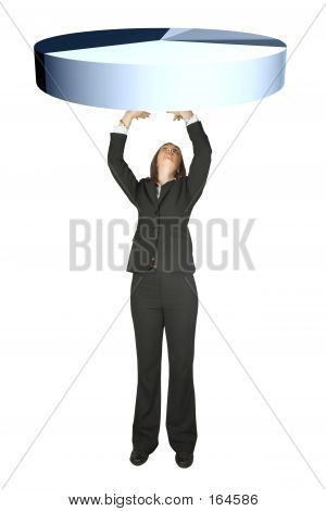 Business Woman Lifting A Pie Chart