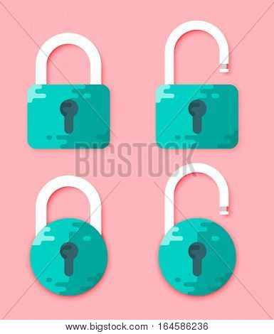 Lock Open And Lock Closed Vector Icons