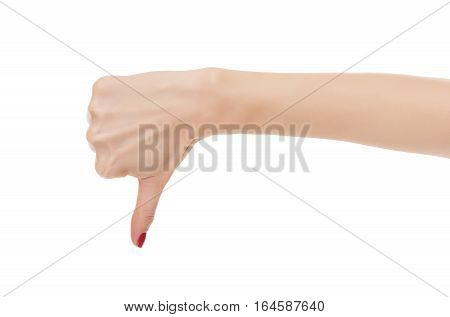 Hand thumb down isolated on white background. Symbol of disapproval.