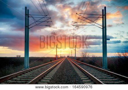 Railway, railorad at a sunset with lines