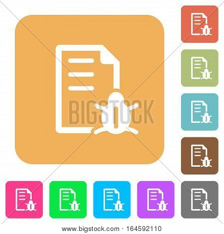 Bug report flat icons on rounded square vivid color backgrounds.