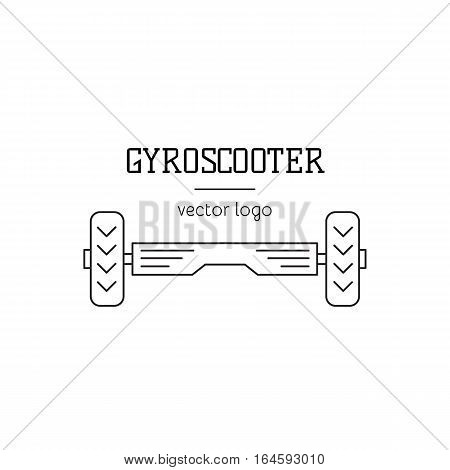 Gyro scooter vector logo template, thin line icon illustration. Self-balancing board isolated symbol. Black on white pictogram. Simple mono linear modern design.