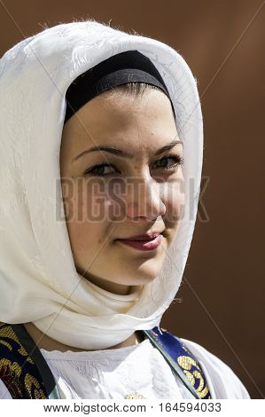 CAGLIARI, ITALY - May 1, 2015: 359 Religious Procession of Sant'Efisio - Sardinia - portrait of a beautiful woman in traditional Sardinian costume